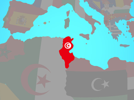 Tunisia with national flag on blue political globe. 3D illustration. 스톡 콘텐츠