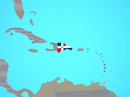 Dominican Republic with national flag on blue political globe. 3D illustration. Reklamní fotografie