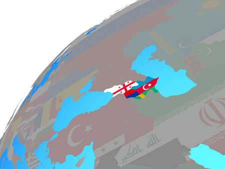 Caucasus region with embedded national flags on globe. 3D illustration. Reklamní fotografie