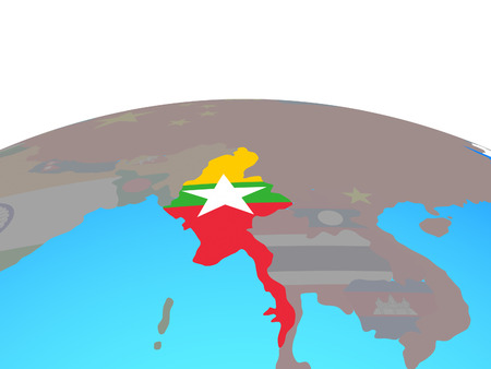 Myanmar with national flag on political globe. 3D illustration.