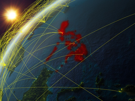 Philippines on model of planet Earth with network and international networks. Concept of digital communication and technology. 3D illustration. Stock Illustration - 111599857