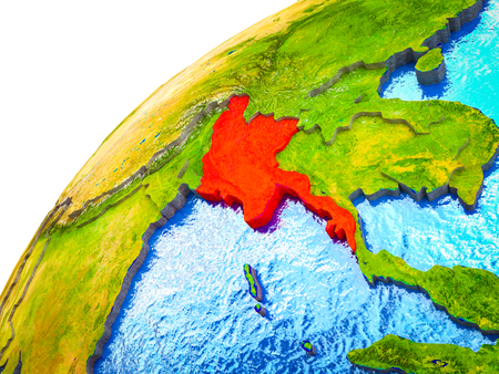 Myanmar on 3D Earth model with visible country borders. 3D illustration.