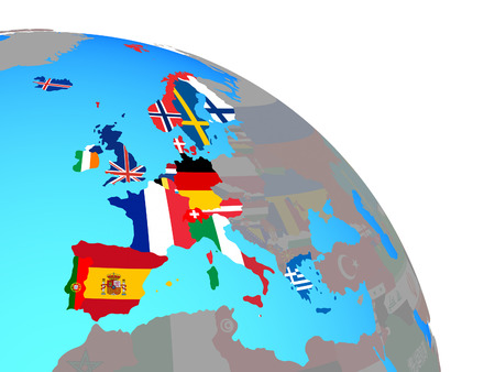 Western Europe with national flags on simple blue political globe. 3D illustration. Banco de Imagens