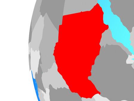 Sudan on blue political globe. 3D illustration. Stockfoto