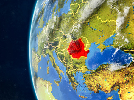 Romania from space on model of planet Earth with country borders and very detailed planet surface and clouds. 3D illustration.