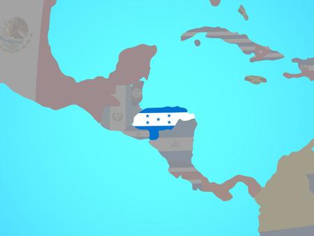 Honduras with national flag on blue political globe. 3D illustration.