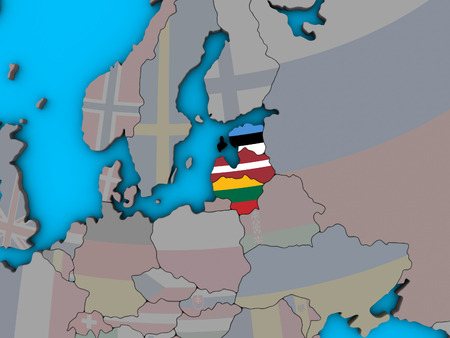 Baltic States with embedded national flags on blue political 3D globe. 3D illustration.
