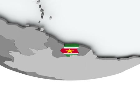 3D render of Suriname with flag on grey globe. 3D illustration.