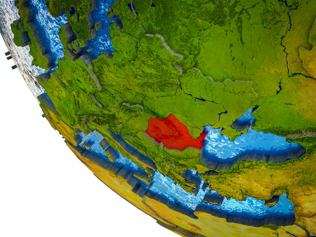 Romania on model of Earth with country borders and blue oceans with waves. 3D illustration.