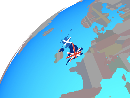 Scotland with embedded national flag on globe. 3D illustration.