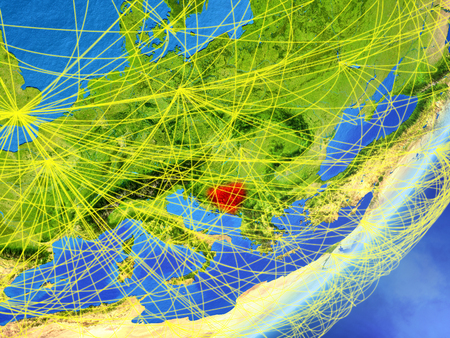 Bosnia and Herzegovina on model of planet Earth with network at night. Concept of new technology, communication and travel. 3D illustration. Stock Photo