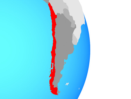 Chile on simple political globe. 3D illustration.