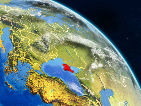 Crimea from space on realistic model of planet Earth with country borders and detailed planet surface and clouds. 3D illustration.