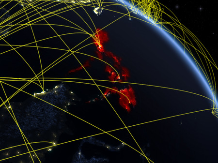 Philippines from space on model of planet Earth at night with network. Concept of digital technology, connectivity and travel. 3D illustration.