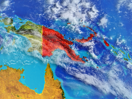 Papua New Guinea from space on model of planet Earth with country borders. Extremely fine detail of planet surface and clouds. 3D illustration. Stock Illustration - 111600243