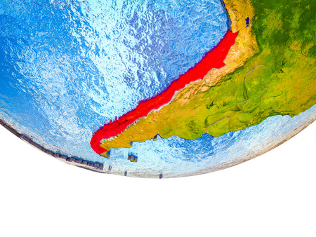 Chile on 3D Earth with divided countries and watery oceans. 3D illustration. Stok Fotoğraf