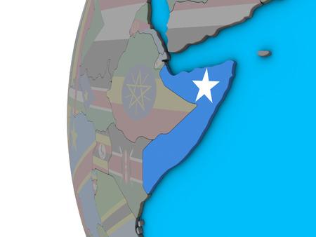 Somalia with national flag on blue political 3D globe. 3D illustration.