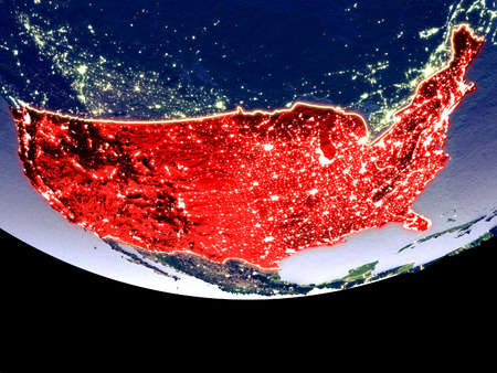 Satellite view of United States from space at night. Beautifully detailed plastic planet surface with visible city lights. 3D illustration.