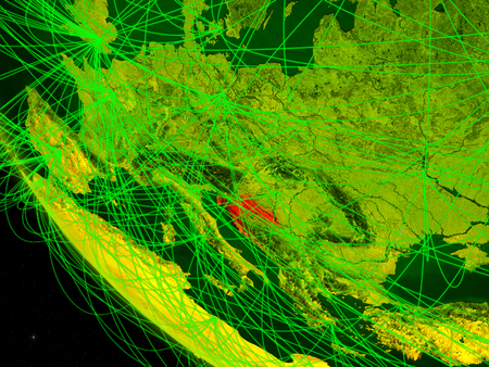 Croatia on digital planet Earth from space with network. Concept of international communication, technology and travel. 3D illustration.