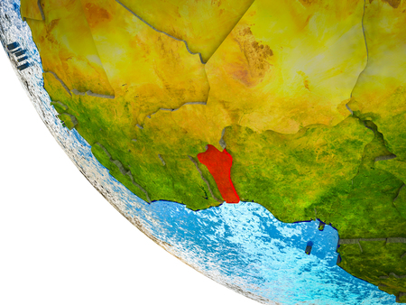 Benin on model of Earth with country borders and blue oceans with waves. 3D illustration. Stock Photo