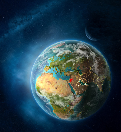 Jordan from space on Earth surrounded by space with Moon and Milky Way. Detailed planet surface with city lights and clouds. 3D illustration.