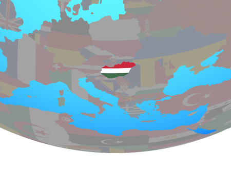 Hungary with national flag on simple political globe. 3D illustration.