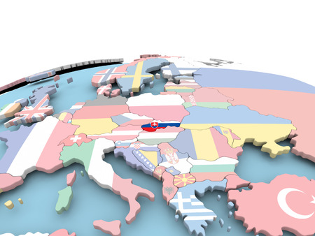 Slovakia on political globe with embedded flags. 3D illustration.