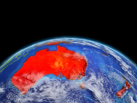 Australia on planet planet Earth. Extremely detailed planet surface and clouds. Continent highlighted in red. 3D illustration. Stock Photo