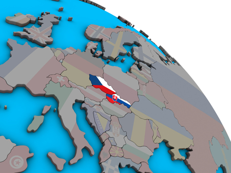 Former Czechoslovakia with embedded national flags on simple blue political 3D globe. 3D illustration. Stok Fotoğraf