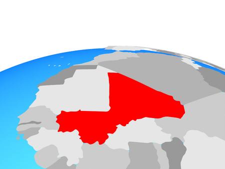 Mali on political globe. 3D illustration. Stock Photo