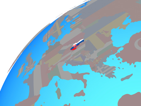 Slovakia with embedded national flag on globe. 3D illustration.