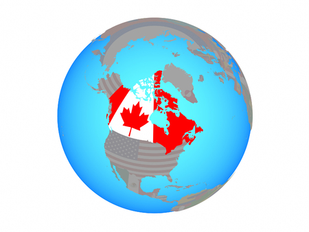 Canada with national flag on blue political globe. 3D illustration isolated on white background.