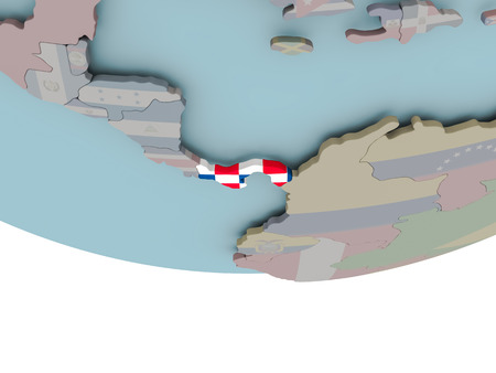 3D illustration of Panama with embedded flag on political globe. 3D render.