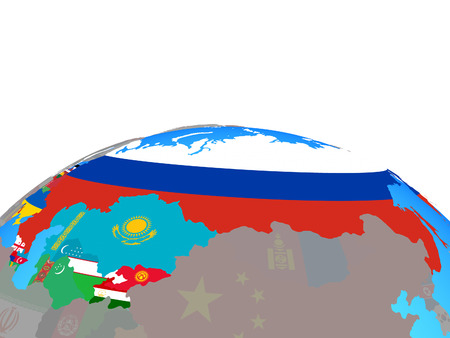 Former Soviet Union with national flags on political globe. 3D illustration.