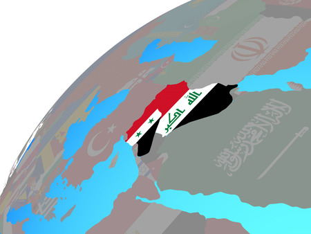 Islamic State with embedded national flags on globe. 3D illustration.