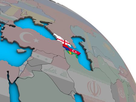 Caucasus region with embedded national flags on simple blue political 3D globe. 3D illustration.