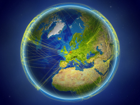 Netherlands from space on planet Earth with digital network representing international communication, technology and travel. 3D illustration. Banco de Imagens