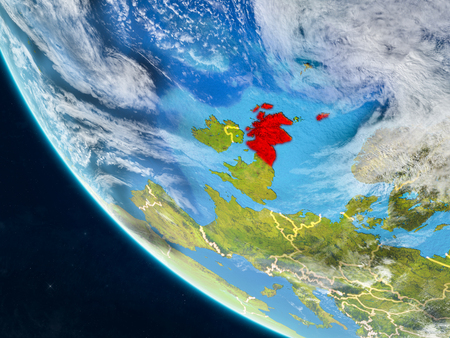 Scotland on planet Earth from space with country borders. Very fine detail of planet surface and clouds. 3D illustration.