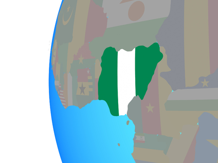 Nigeria with embedded national flag on blue political globe. 3D illustration.