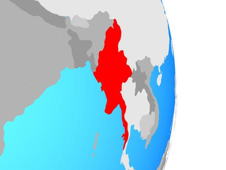 Myanmar on simple political globe. 3D illustration.