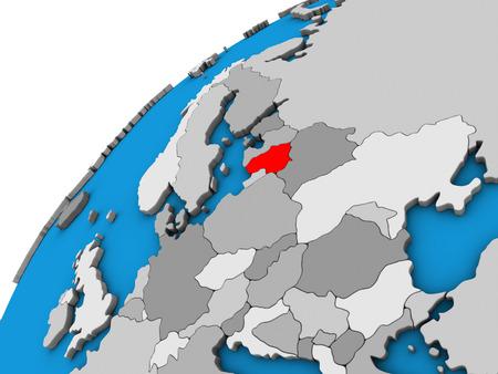 Lithuania on 3D globe. 3D illustration. Stock Photo
