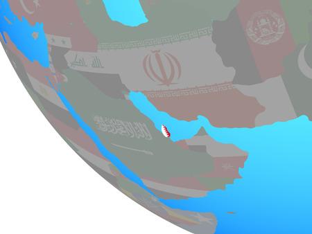 Qatar with national flag on simple globe. 3D illustration.