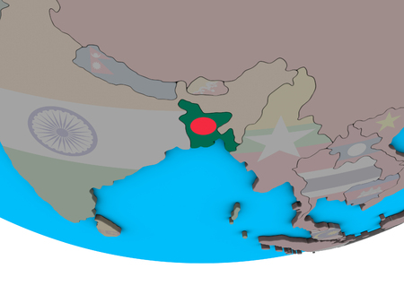 Bangladesh with embedded national flag on simple political 3D globe. 3D illustration.