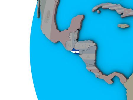 El Salvador with national flag on blue political 3D globe. 3D illustration. Banco de Imagens
