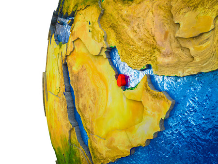 Qatar highlighted on 3D Earth with visible countries and watery oceans. 3D illustration.