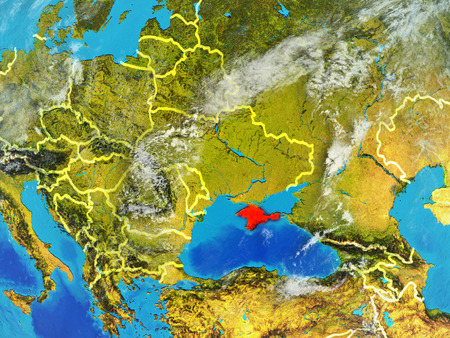 Crimea from space on model of planet Earth with country borders. Extremely fine detail of planet surface and clouds. 3D illustration.