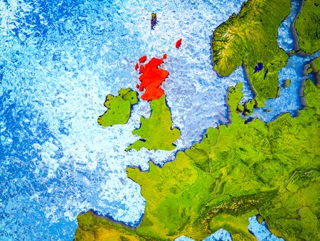 Scotland on model of 3D Earth with blue oceans and divided countries. 3D illustration.