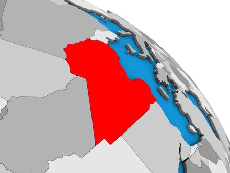 Libya on simple blue political 3D globe. 3D illustration.