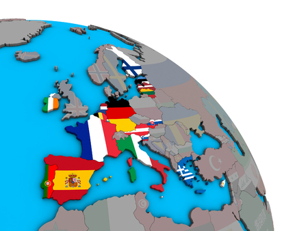 Eurozone member states with embedded national flags on simple blue political 3D globe. 3D illustration. Stock Photo