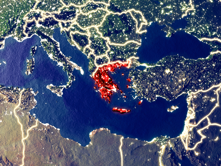 Greece from space on Earth at night. Very fine detail of the plastic planet surface with bright city lights. 3D illustration.